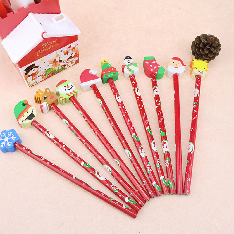 5pcs Christmas Pencil With Detachable Eraser Kids Gift Pens School Stationery