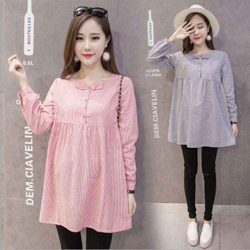 Pregnant Women Long Sleeve Bowknot Maternity Tops Casual Loose Blouse New