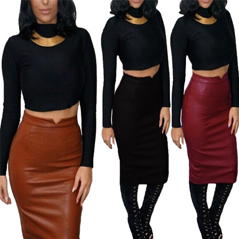 Women's Sexy Soft PU Leather Skirt High Waist Slim Hip Pencil Skirts Mini Skirt