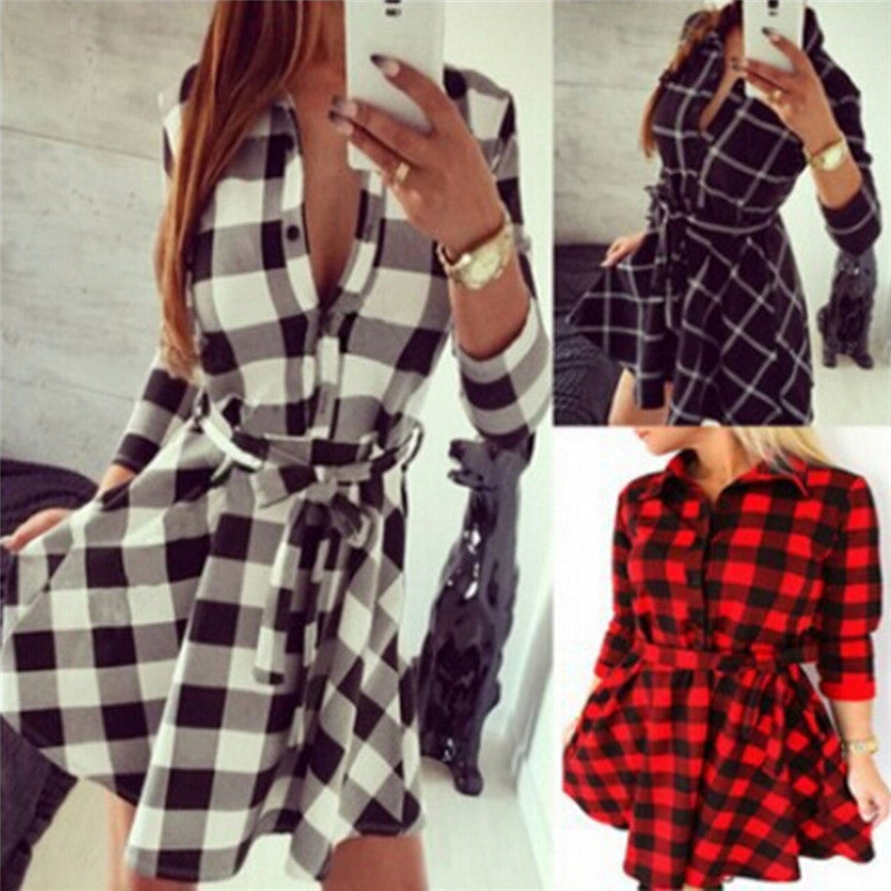 Women Hot Plaid Turn-down Collar Shirt Casual Tunic Shirt Dresses Office Dresses
