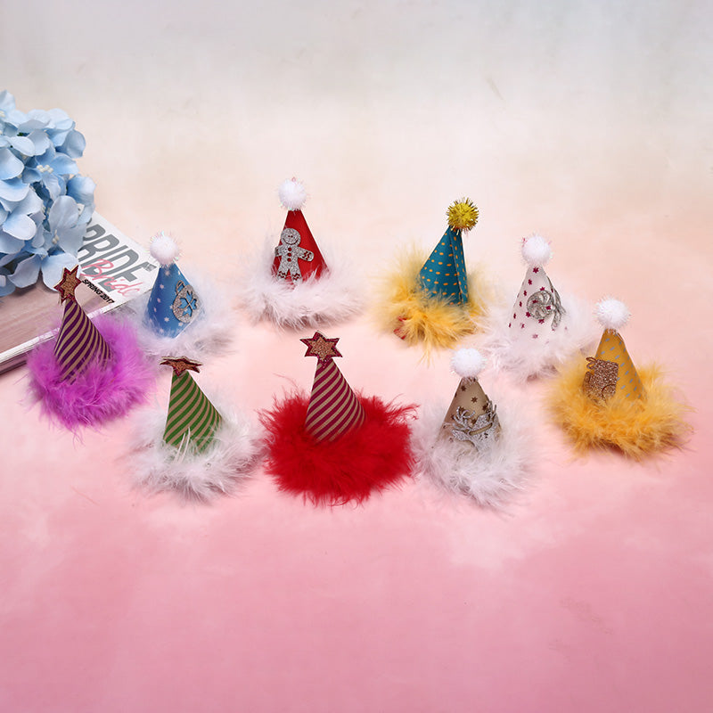 Christmas Glitter Hat Hair Clips Girls Feather Hairgrips Kids Hair Accessories