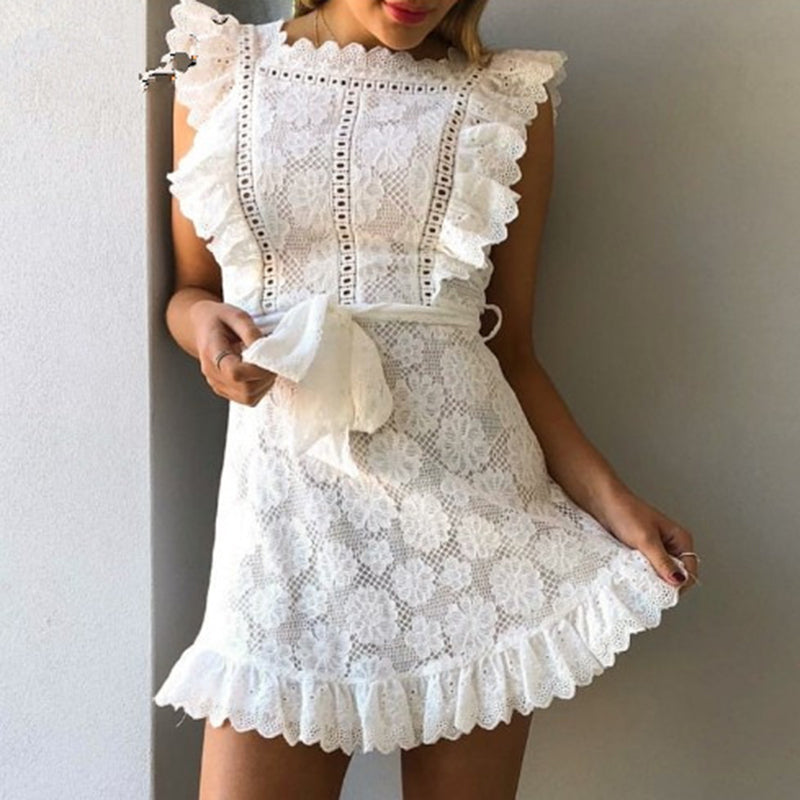 Women Summer Slim Lace Dress Sleeveless Floral A Line Beach Mini Dress With Belt