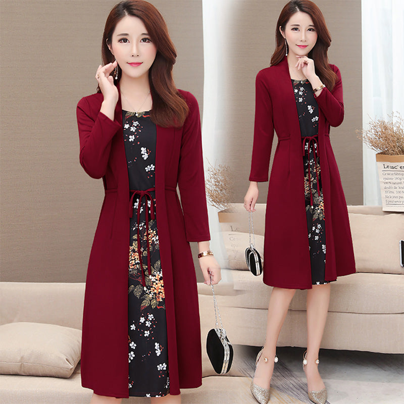 Women dress casual knee-length plus size printing  dress loose elegant dress
