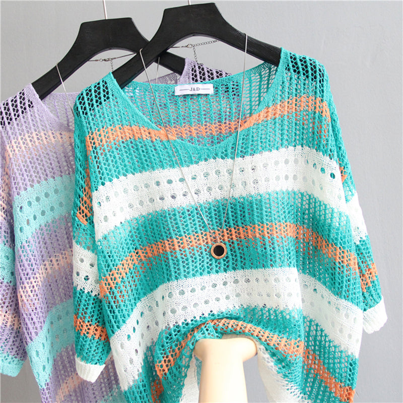Women T-shirt Sexy Stripe Mesh Hollow Tops Fashion Slim Sleeve Knitted Pullover