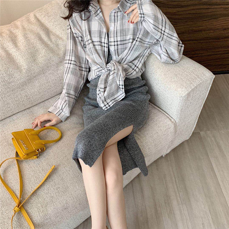 Women Casual Suit Plaid Sunscreen Shirt Long Knit Suspender Dress Two-Piece