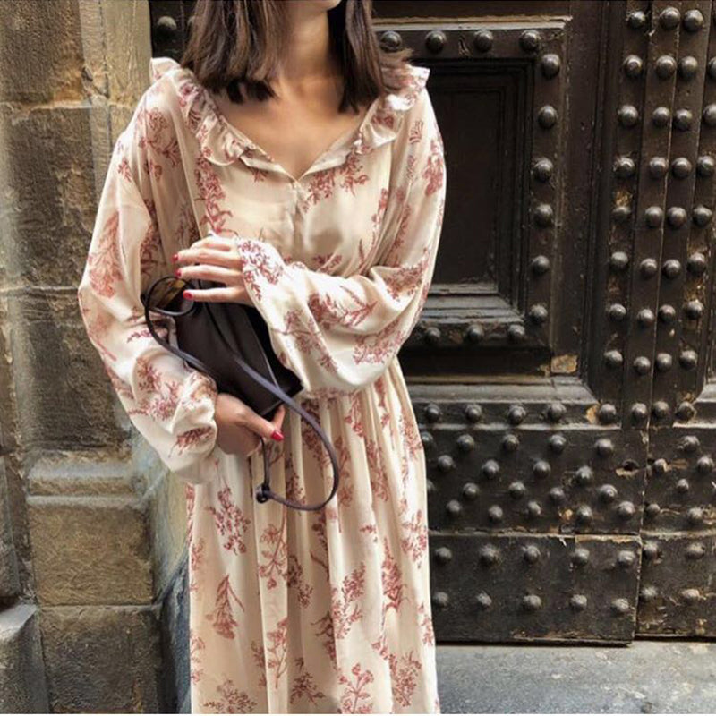 Women Dress Floral Chiffon Sexy Ruffles V Neck Elastic Waist Retro Dress