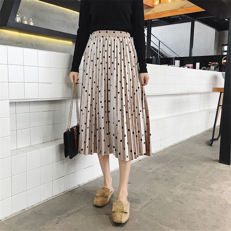 Women Skirts Fashion Velvet A-Line Pleated Dot Gorgeous Elastic Waist Skirts