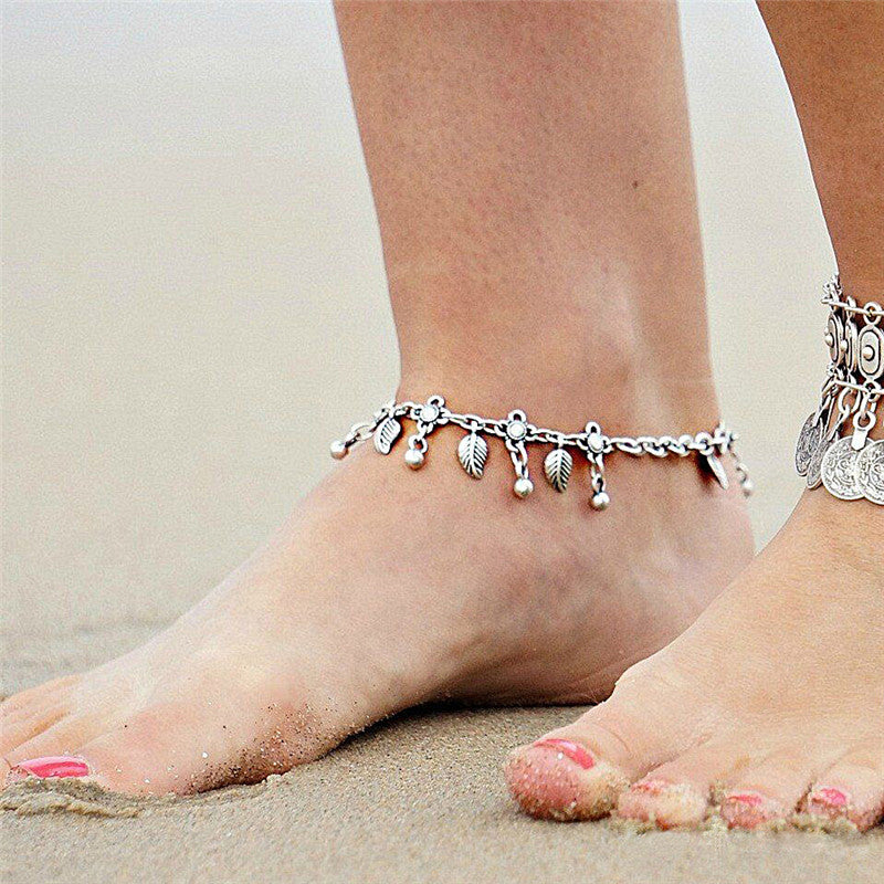 Fashion Retro Metal Water Drops Leaf Tassel Anklet Chain Bohemia Anklet Jewelry