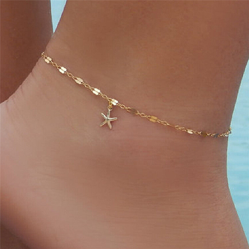 Fashion Women Starfish Charm Anklet Bracelet Ankle Chain Sandal Beach Foot Jewelry