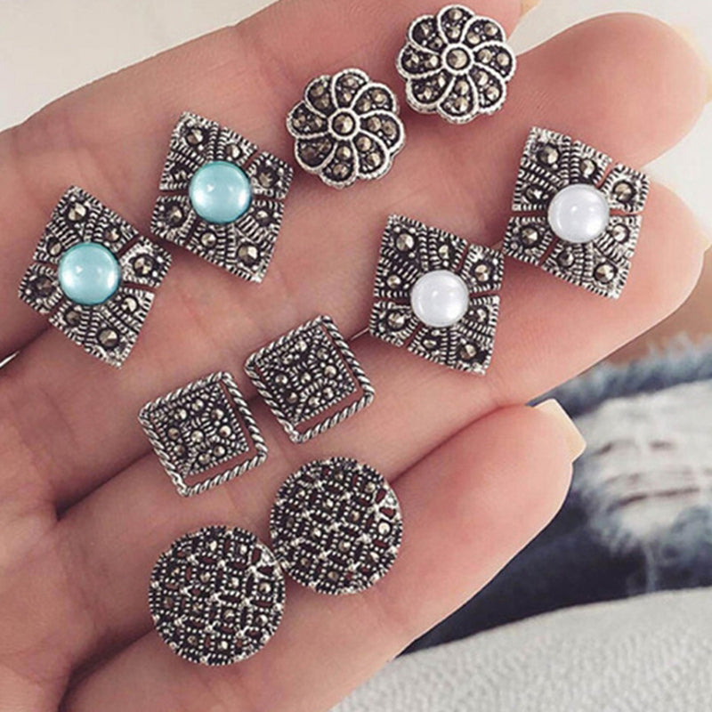 5 Pairs /set New Fashion Women Stud Earring Girls Birthday Party Mashup Earrings