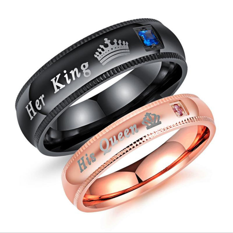 New His Queen Couple Ring Wedding Rings Men Women Lovers Anniversary Accessories