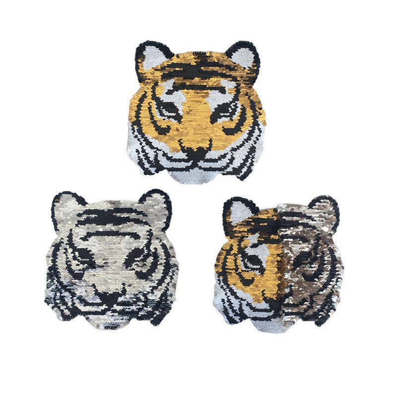 tiger change color sequins patches embroidered reversible badge fabric applique