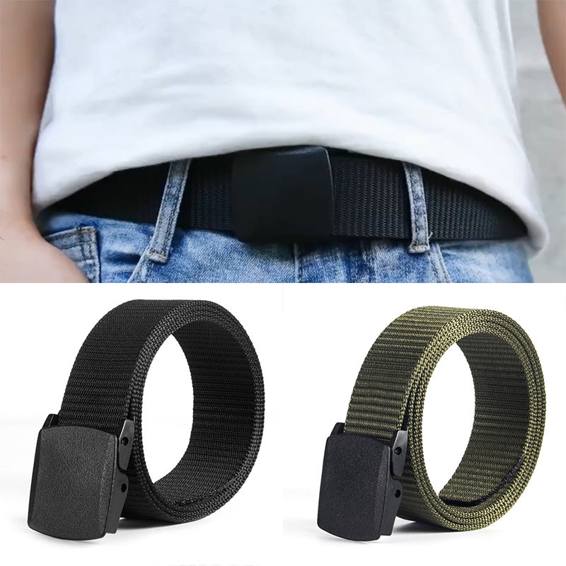 Unisex Women Men Metal Security Light Plastic Buckle Canvas Belt Solid Colour