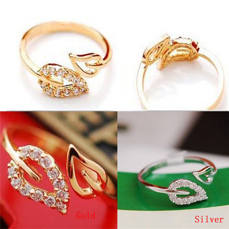 2PC Women Adjustable Gold Leaves Opening Cuff Ring Love Gift  Fashion Accessory