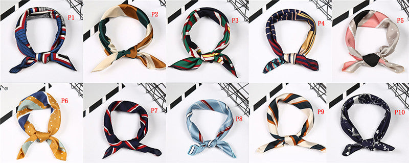 Women Square Scarf Fake Silk Wraps Elegant Floral Head Neck Hair Tie Band