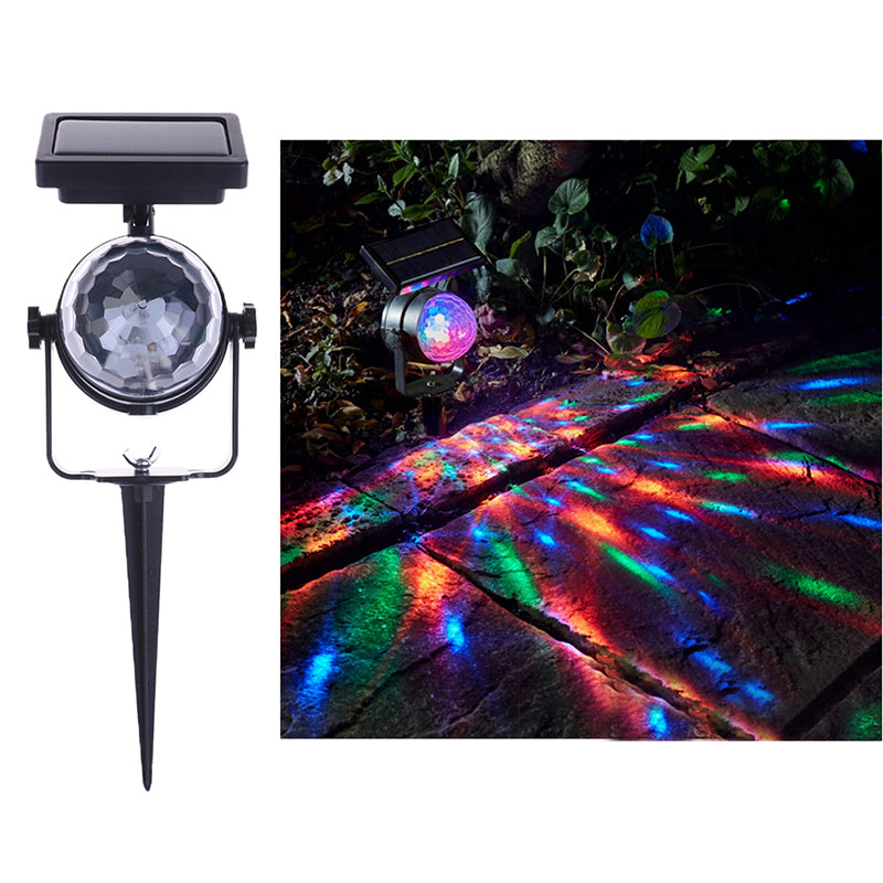Solar Power Colorful Rotating LED Projection Light Garden Lawn Lamp Outdoor Bulb