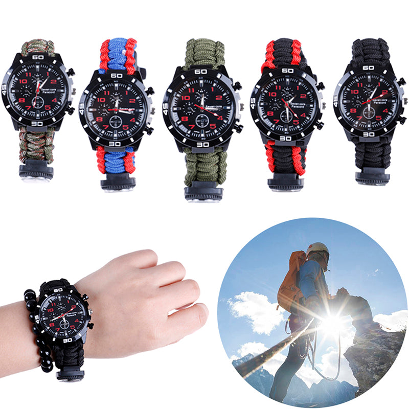 Outdoor Paracord Survival Emergency Watch Bracelet With Compass Whistle