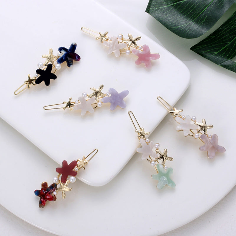 Acetic Acid Hair Clips Women Starfish Hairpins Pearl Barrette Girls Hairgrips