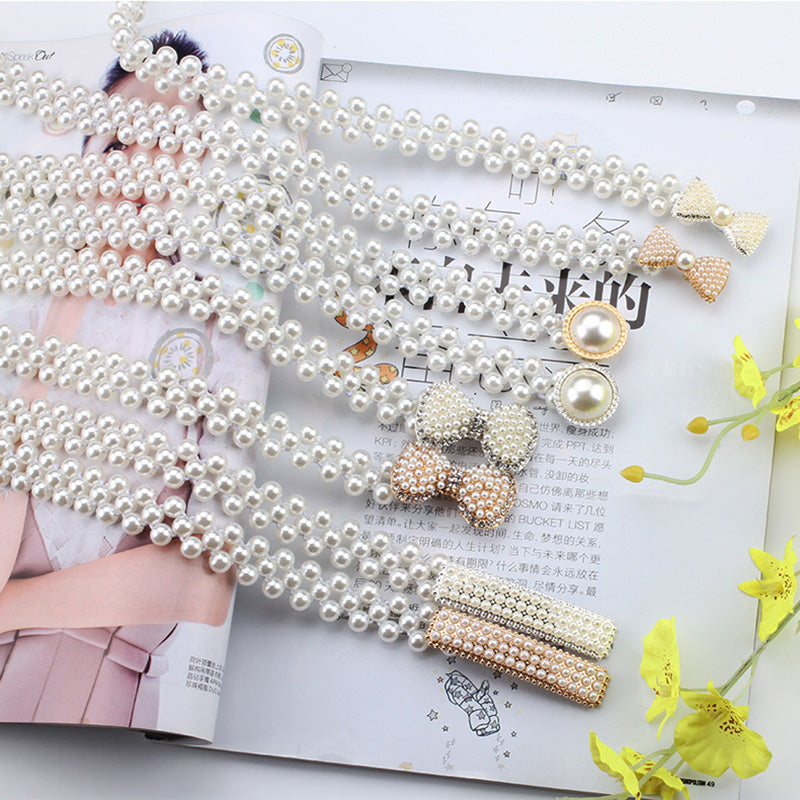 Women Ladies Pearls Crystal Beads Chain Belt Stretchy Flower Buckle Waistband