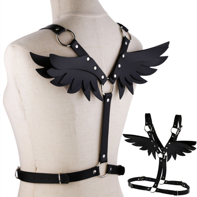 Women Gothic Sexy Leather Angel Body Harness Belt Angel Wings Harness Waist Belt