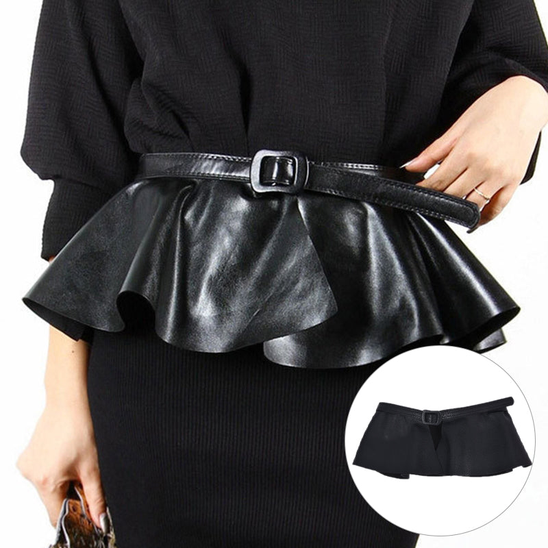Ruffle Female Belt Women PU Leather Corset Harness Belts Dresses Costumes Black