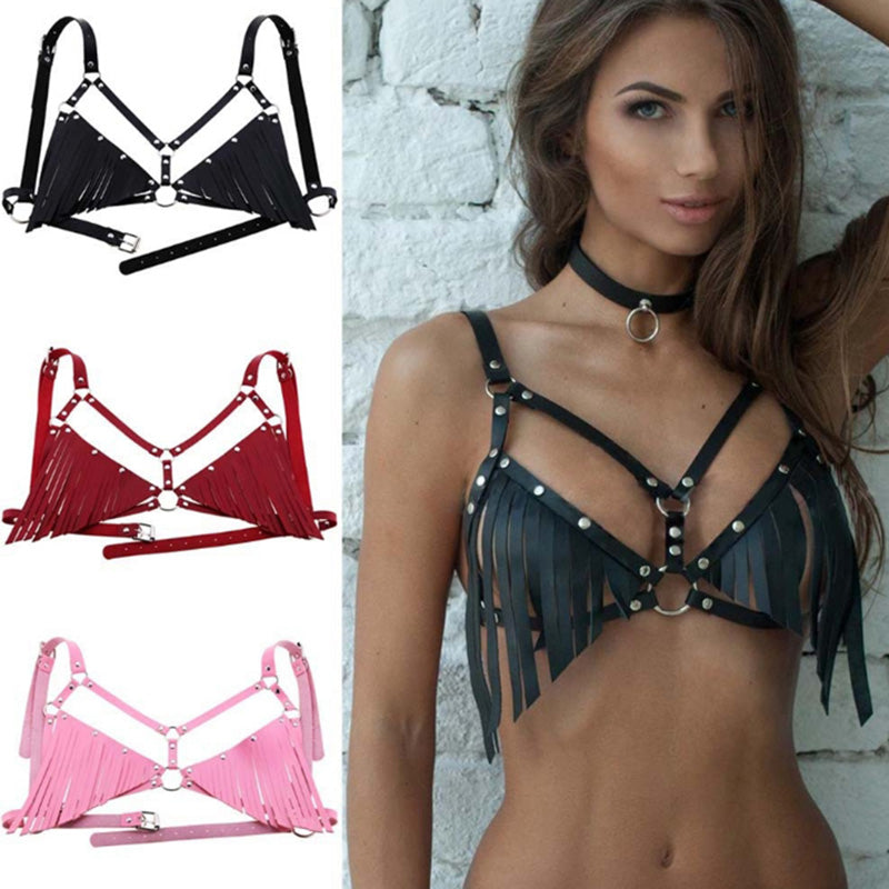 Sexy Women Leather Body Harness Waist Bra Chain Belts Strap Corset Bustier Bust
