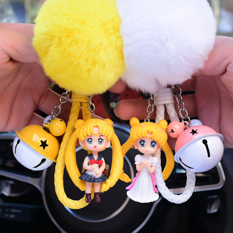 Sailor Moon Bell Plush Ball Keychain Fairy Pendant Doll Cartoon Cute Key Chain