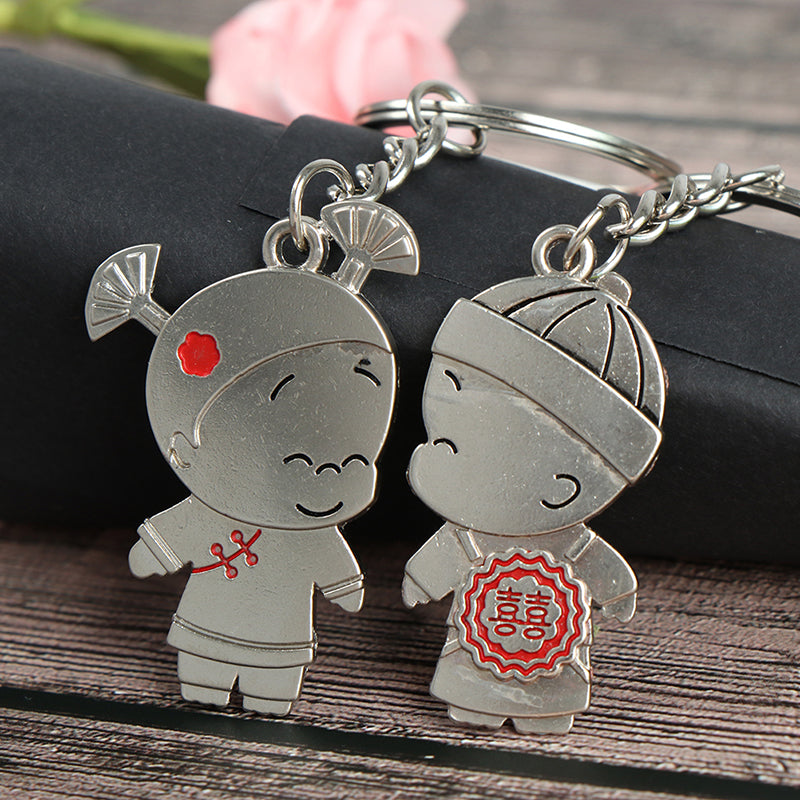 1Pair Boy and Girl Bride Groom Keychain Couple Lover Keyring Gift