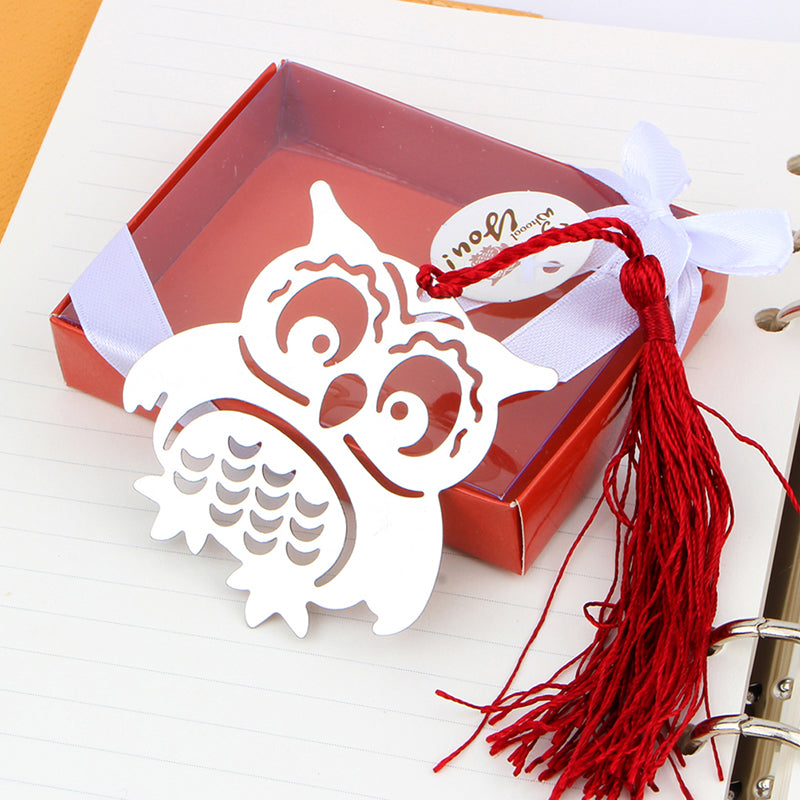 1 pcs owl hollow tassel stainless steel bookmark office stationery