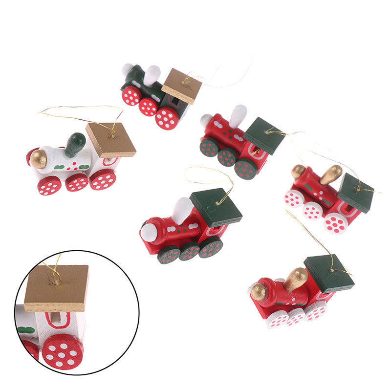 6PCS/Set Christmas Tree Decorations Wood Painted Train Heads