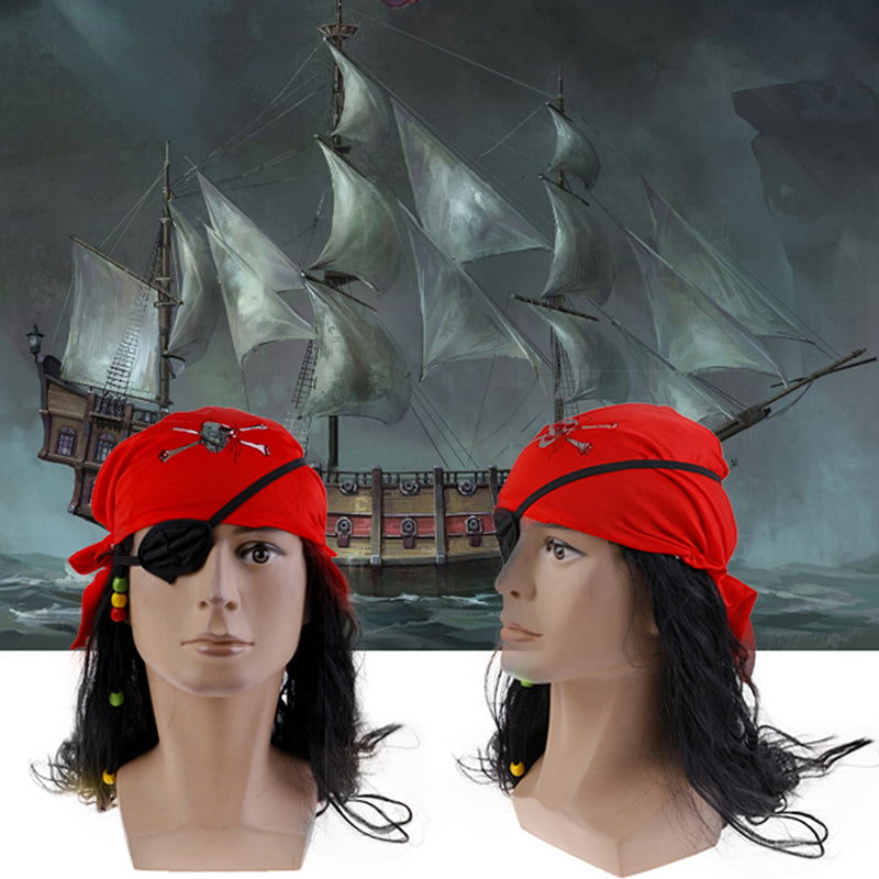 Pirates Cosplay Brown Wig Hat Prop For Halloween Fancy Dress Captain Headscarf