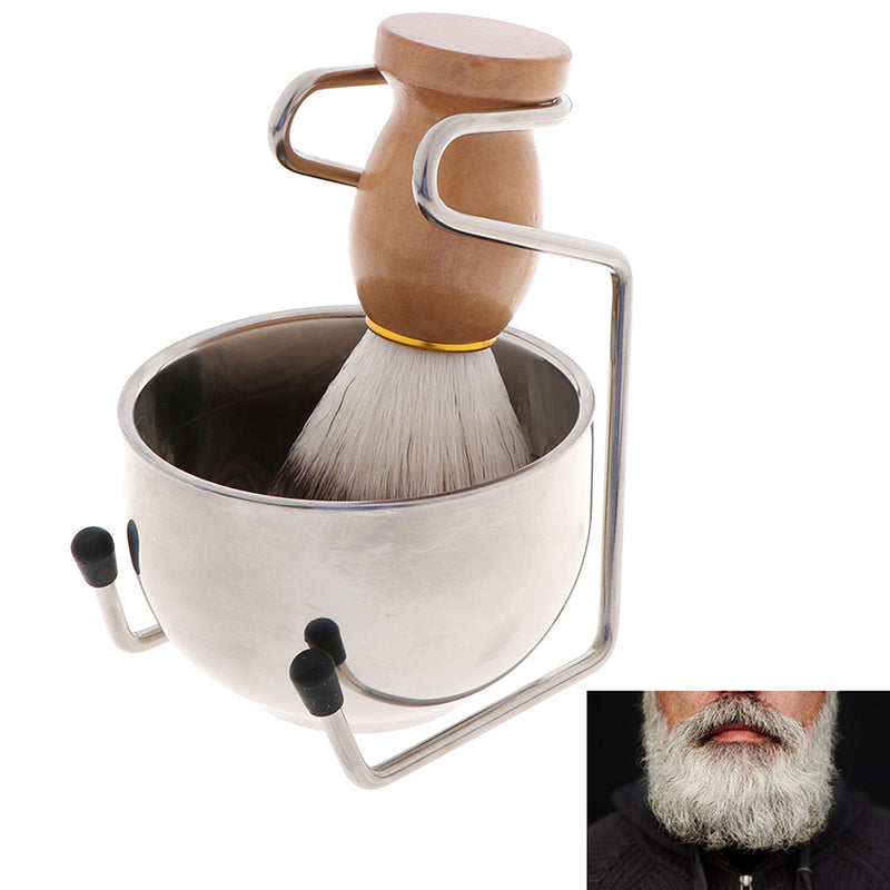 3In1 Clean Tool Shave Frame Soap Bowl Bristle Hair Shave Brush Shaving Brush Set
