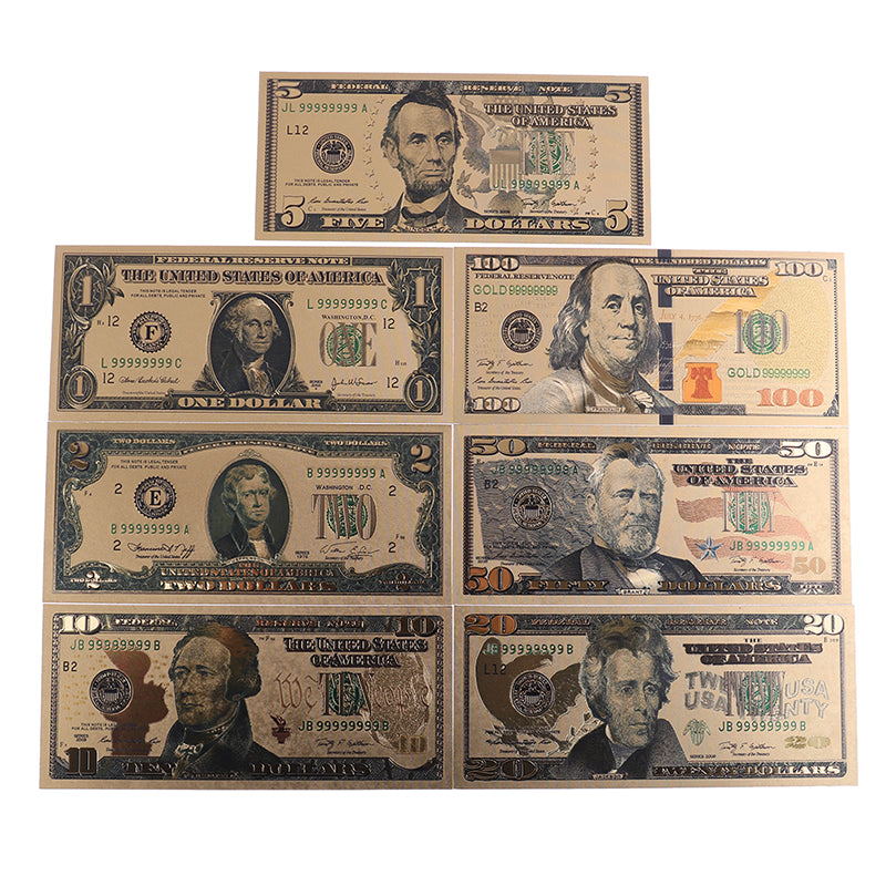 7Pcs/set commemorative gold foil usa dollars paper money banknotes collections