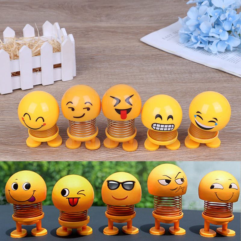 Creative car decoration jewelry spring shaking head doll expression pack