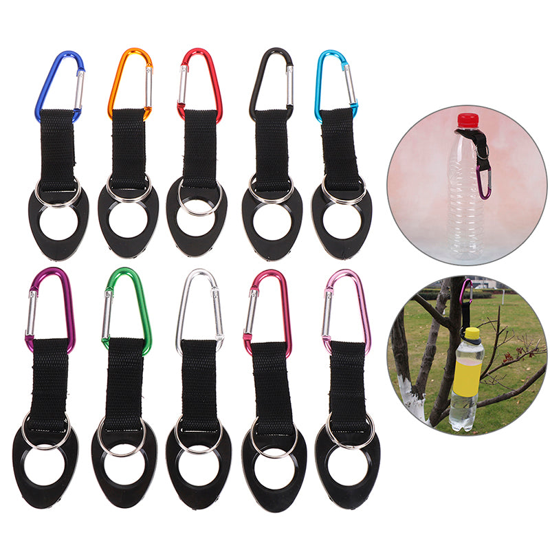 Hiking Water Bottle Holder Hook Belt Clip Aluminum Silicone Carabiner Key Ring