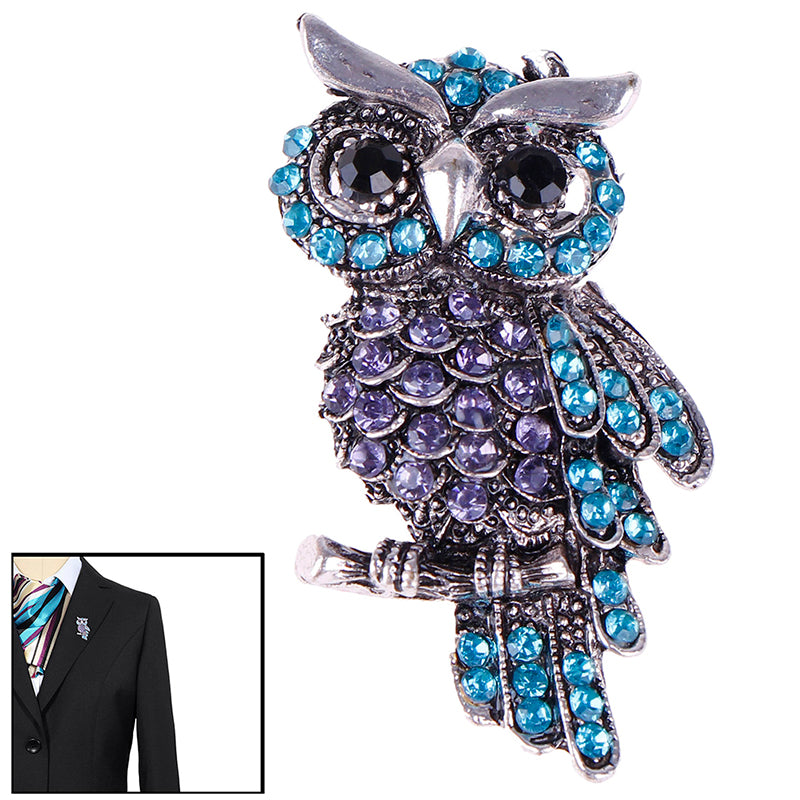 Women's Owl Zinc Alloy Trendy Imitation Rhinestone Brooch Badge Christmas Gifts