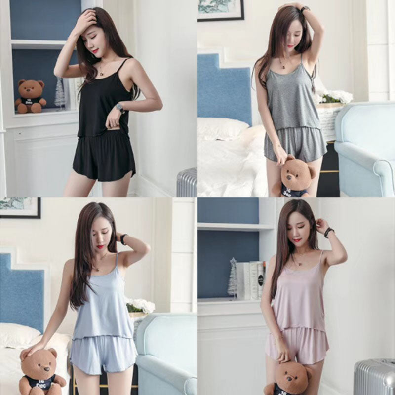 2pcs Set Women Pajama Solid Cotton Sleepwear Camisole + Shorts Nightwear Set