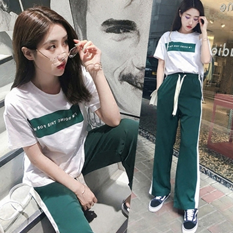 2pcs Korean Fashion Summer Women Set Wear Short Sleeve Tops Wide Leg Pants Suit