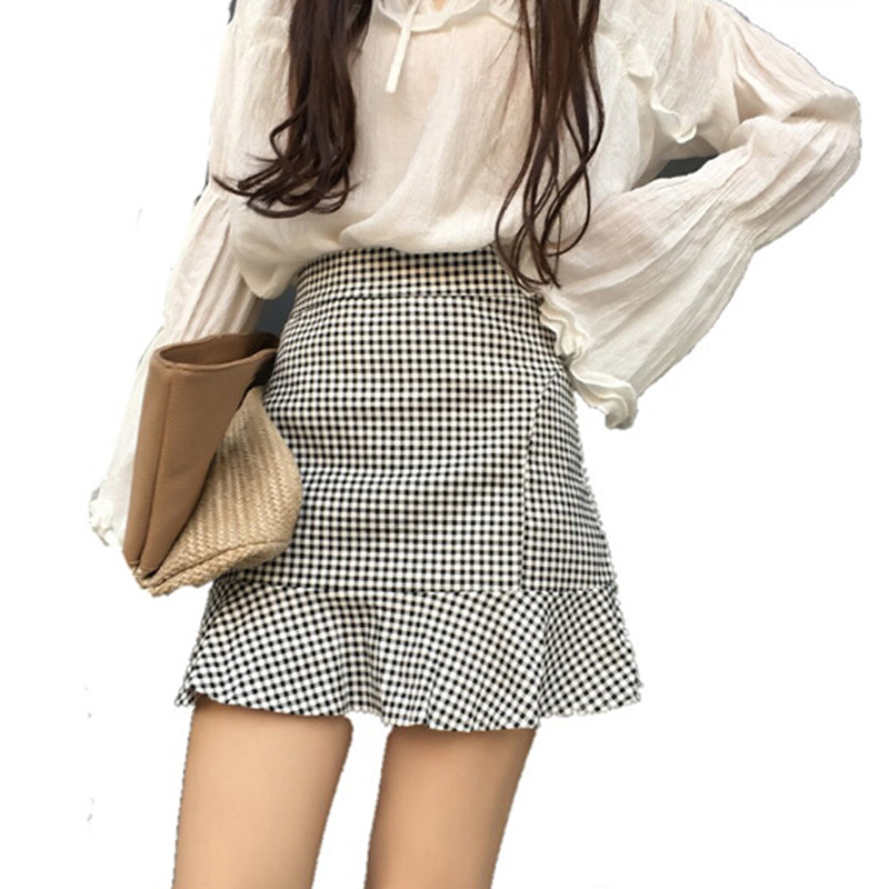 Summer Korean Women Plaid Fishtail Striped A-Line High Waist Fashion Sexy Skirt
