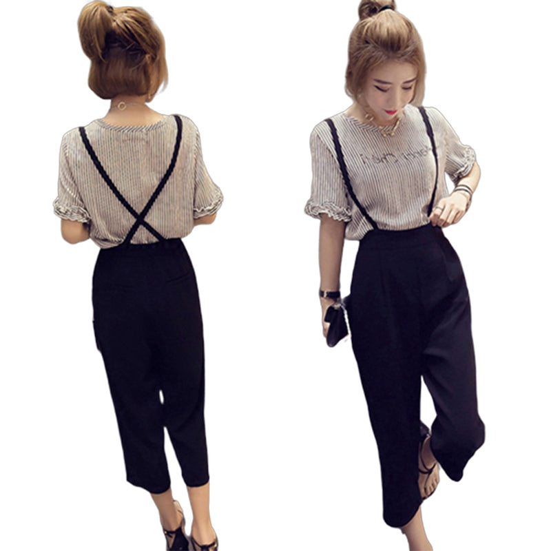 2Pcs/Set Korean Short Striped Sleeve TShirt + Wide Leg Pants Romper Jumpsuit