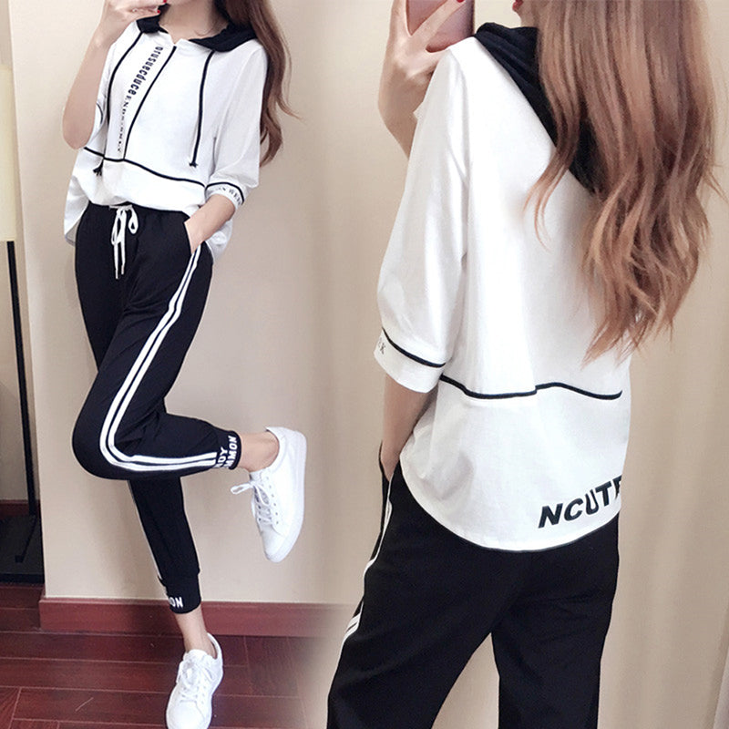 2PCS Long Sleeve Sports Loose Suit Womens Clothing Casual Pants Set Sport Wear