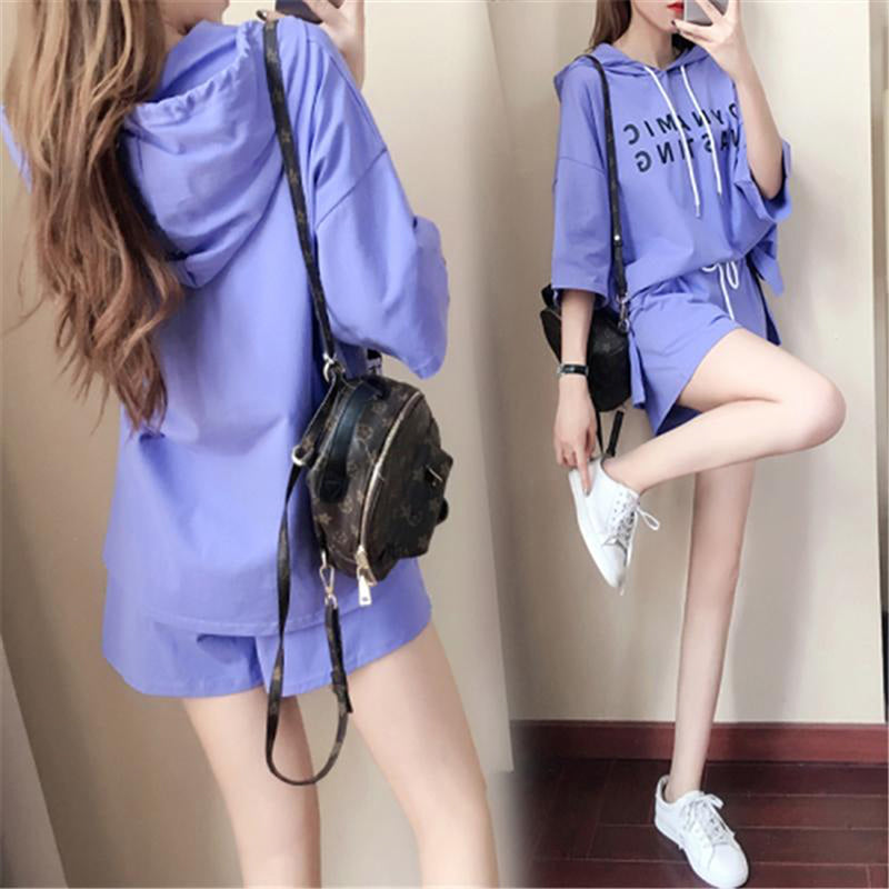 2Pcs Sportswear Summer Women Short-sleeved Short Pants Solid Suit Loose set