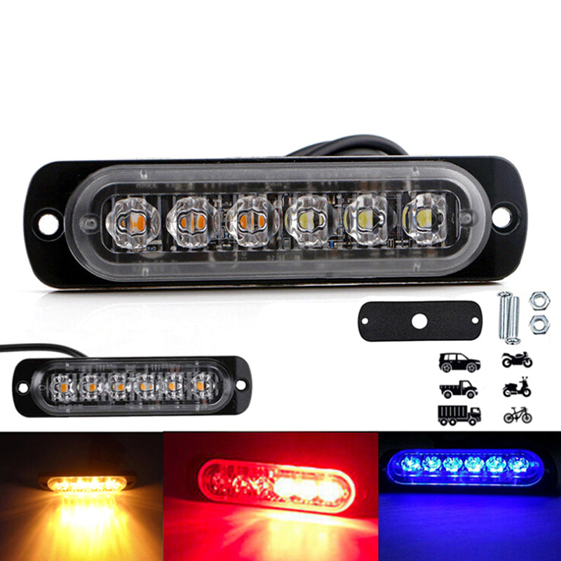 6 Led Light Bar Flash Emergency Car Vehicle Warning Strobe Flash Color Optional
