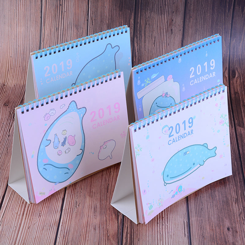 2019 creative whales standing calendar multi function schedule planner notebook