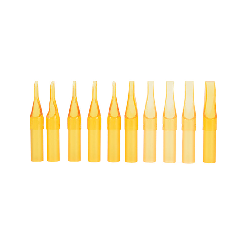 50pcs Yellow FT RT Sterile Disposable Tattoo Grip Nozzle Tips Round Needle Tube