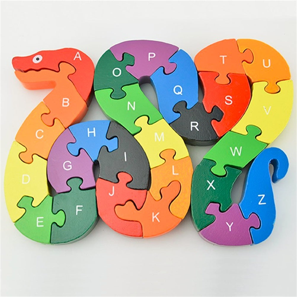 26pcs Alphabet Wooden Puzzle Jigsaw Kids Number Block Preschool Snake Toy