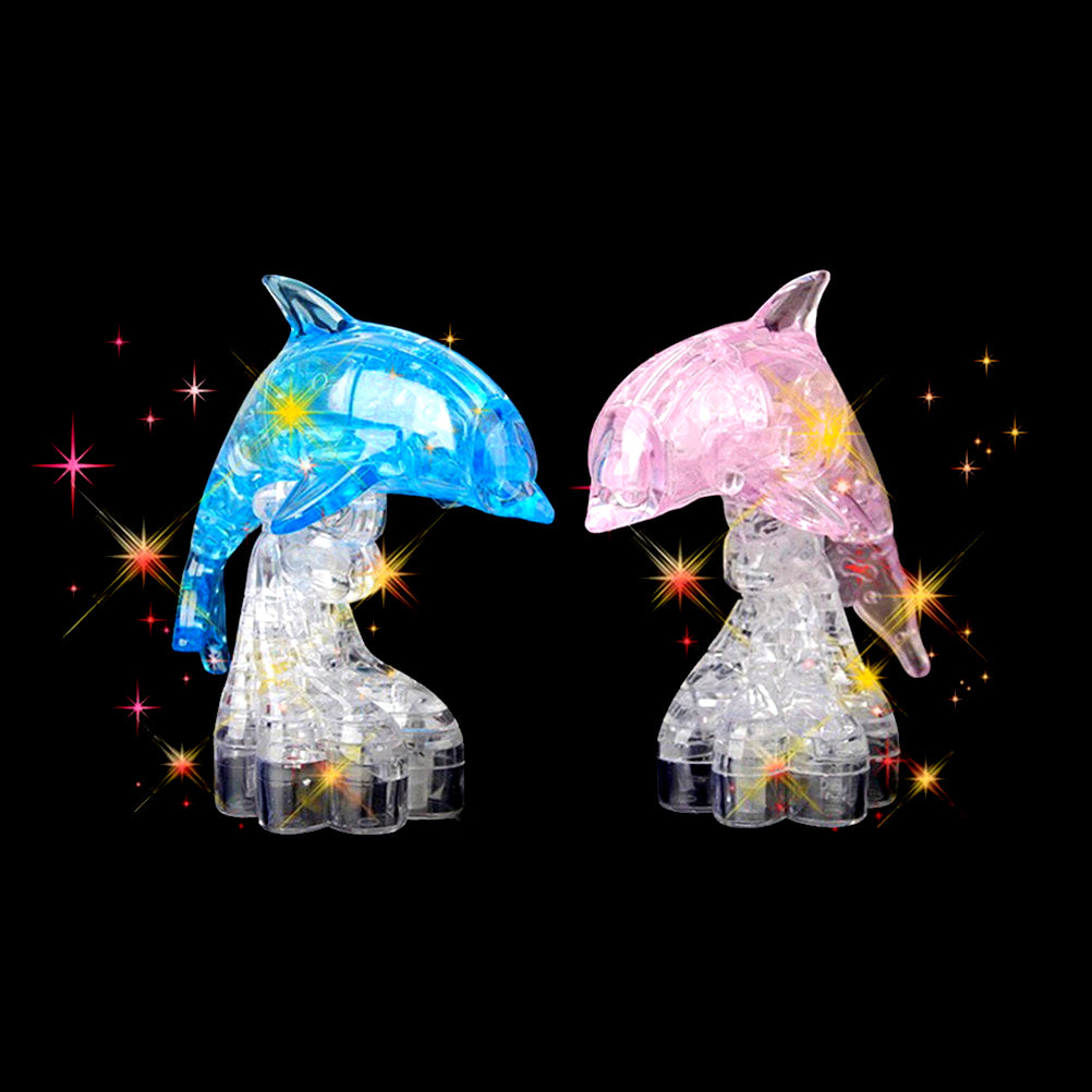 Children DIY Toy 3D Crystal Dolphin Puzzle Heart Building Blocks Toy