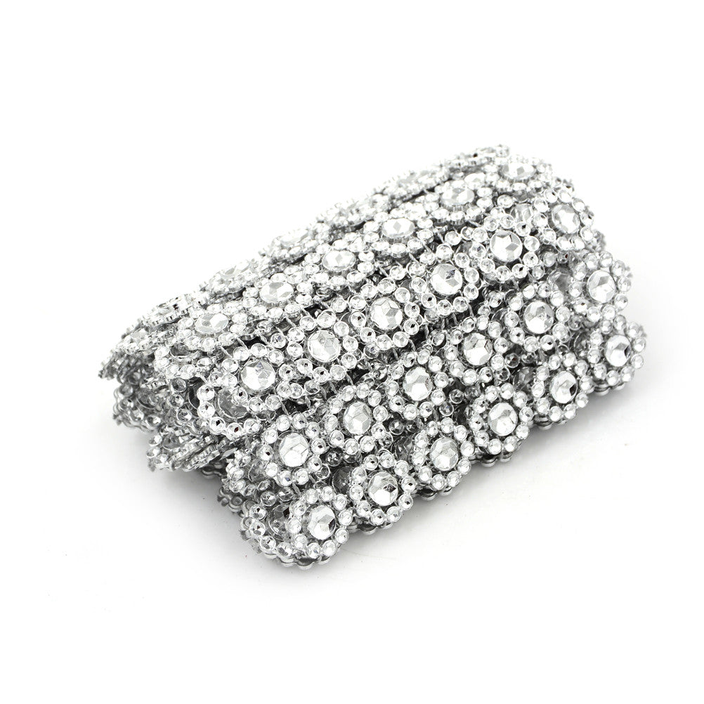 Silver Plastic Diamond Rhinestone Ribbon Mesh Wrap Wedding Decorations Supplies