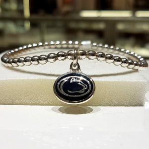 Ladies One of a Kind Solid Sterling Silver Beaded Penn State Dangle Bracelet
