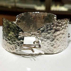 """OCEAN WAVES"" Ladies One of a Kind Sterling Silver Handmade Uniquely Finished Cuff Bracelet"